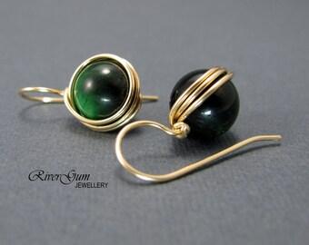 Green Onyx Earrings, Gemstone Earrings, 14kt Gold Filled, Wire Wrapped, RiverGum Jewellery