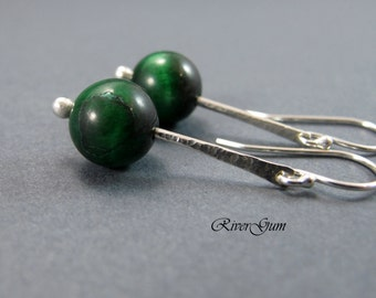 Green Onyx Gemstone Earrings, Long Argentium Silver Forged Stem Earrings, Contemporary, Handmade by RiverGum Jewellery