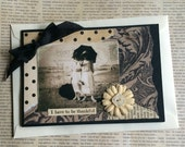 Vintage Style Handmade Card featuring Woman at Beach with Thankful Theme
