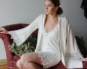 Bridal robe in organic cotton with cotton lace trim sleeve - MYRTLE - sleepwear and lingerie range - made to order