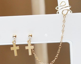 Gold Filled Cross Charms Cuff Earring