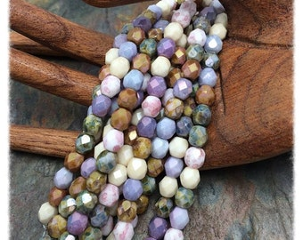 Vintage Pastel Luster Faceted Fire polish 4mm Czech Glass Beads