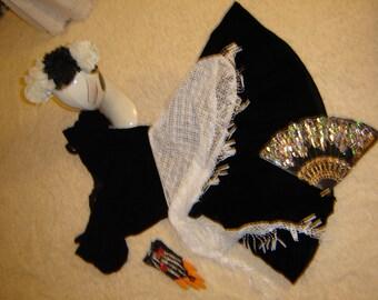 Day of the Dead Goth steampunk black dress women sz 8 Halloween Costume Dia de los Muretos