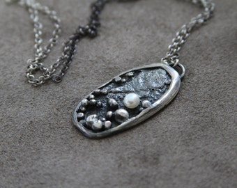 Big silver textured pendant with delicate white pearl OOAK ready to ship.
