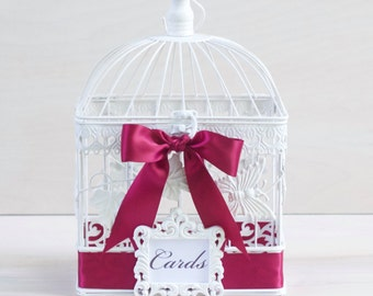 Wedding Card Bird Cage - Shower Card Holder - Birdcage Cards - Wedding Card Holder - White Bird Cage -  Butterflies - Custom Birdcage