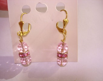 Pink Faceted Glass Gold Tone Dangle Earrings