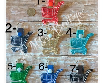 Aldi Quarter Keychain, Aldy Quarter Keeper, Coin Holder Key chain, Shopping cart Fob Embroidered Snap Tab,  Grocery cart Key Fob