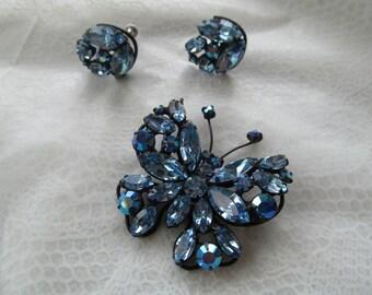 REGENCY signed vintage Figural blue rhinestones butterfly brooch and earrings