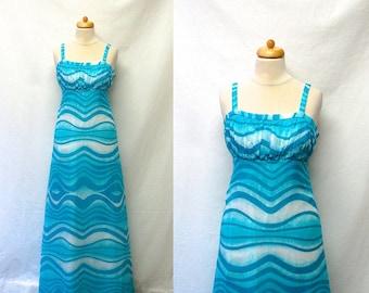 1960s / 70s Vintage Cotton Voile Dress / Blue & White Wave Print Maxi Dress