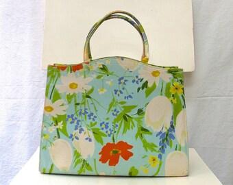 1960s Vintage Margaret Smith Glazed Cotton Handbag / Seafoam Floral Bag