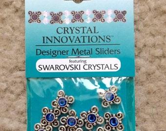 10 Piece, Swarovski Crystal Slider, Spacer, Finding, Swirl, Sapphire, Blue, Clear, Erinite, Amethyst, Purple, Fancy, Silver Tone, Pewter