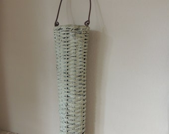 """15"""" Tall Narrow Painted Antiqued White Wicker Wire Handled Basket. Shabby Chic Tall Round White Flower Basket With Wooden Handle."""