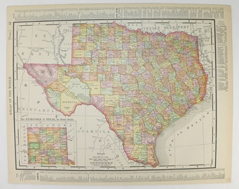 Antique Texas Map 1899 Vintage Map, Lone Star State Map, Indian Territory Oklahoma Map, Texas Wedding Gift for Couple, Man Cave Texas Art