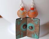 Teal Enamel Earrings, Striped Orange Earrings, Lampwork Glass Bead Earrings, Abstract Earrings, Boho Chic Earrings, Geometric Earrings