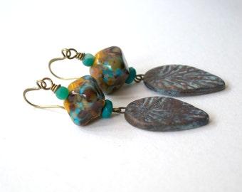 Ceramic Leaf Earrings, Golden Yellow Earrings, Boho Chic Earrings, Lampwork Glass Bead Earrings, Woodland Earrings, Rustic Earthy Earrings