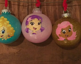 Bubble Guppies Christmas ornaments. Set of 3