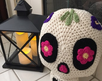 Crochet Sugar Skull Pillow