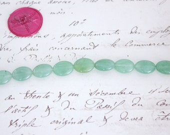 Green Aventurine 8 inch Bead Strand - Smooth Ovals 10x14mm