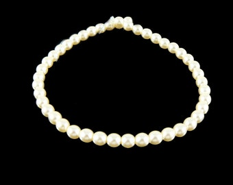 4mm luster ivory glass pearls, 7 inch strand