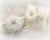 Flower Girl Basket, Ring Bearer Pillow, Ivory, Cream, Vintage Wedding, Elegant,Ivory Basket, Lace Basket, Lace Pillow,Crystals, Pearl Handle