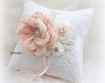 Ring Bearer Pillow, White, Blush, Pink, Lace Pillow, Bridal, Elegant Wedding, Vintage, Gatsby Wedding, Lace, Pearls, Crystals, Brooch,