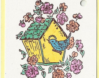 Blossoms Birdhouse-Choice of Tags or Thank You Cards