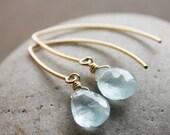 ON SALE Gold Blue Aquamarine March Birthstone Earrings - 14K Gold Fill Hook Earrings