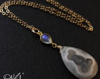 40 OFF SALE Solar Quartz Rainbow Moonstone Necklace - Blue Flash Moonstone - 14kt Gold Fill