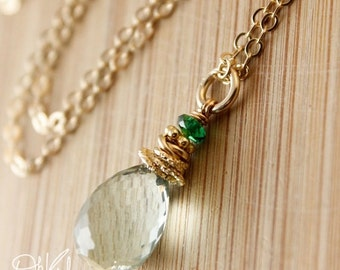 40 OFF SALE AAA Grade Green Amethyst Green Tourmaline Necklace - 14kt Gold Fill