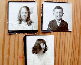 Vintage Photo School Portrait Instant Collection Children Boy Girl Antique Photograph