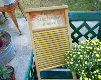 Vintage Pine and Brass Washboard Advertising Hibbard's Star Leader 40's Washday