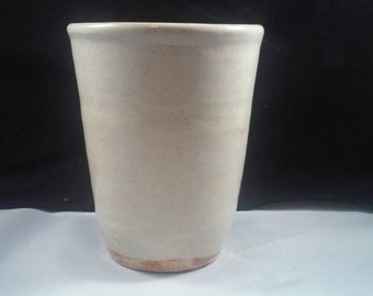 Handmade Cream Pottery Tumbler Ceramic Cup Tea, Beer, Wine, Coffee