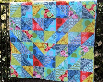 Handmade Quilt in Amy Butler Cameo Collection, Lap Quilt, Sofa Throw, Picnic Blanket, Bright Colors