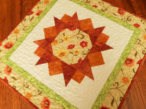 Quilted Square Table Topper with Orange Yellow and Red Flowers, Quilted Table Mat, Table Runner, Floral Table Topper, Quiltsy Handmade