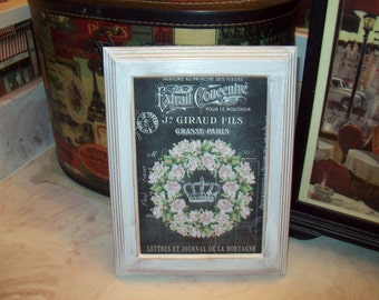 SHABBY chic 5x7 chalkboard look wreath crown frame, PARIS bedroom decor, wall decor, FRENCH bedroom decor, Paris wall decor