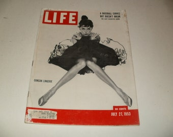 Vintage Life Magazine July 27 1953 - CanCan Lingerie Cover, Retro Ads, Classic Car and Budweiser Ads