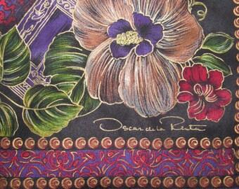 Vintage Oscar de la Renta Studio Rectangular Silk Scarf - Dark Colourway, Big Flowers with Gold Outlining - Long Black Silk Scarf