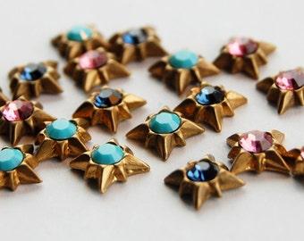 Vintage Rhinestone Brass Star Studs 6 Star & Swarovski Rhinestone Castings Flat Back • 7mm • Pink, Blue, Turquoise