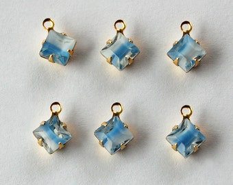 Vintage Blue Givre Glass Pendant Beads 6 Square Glass Bead 6mm