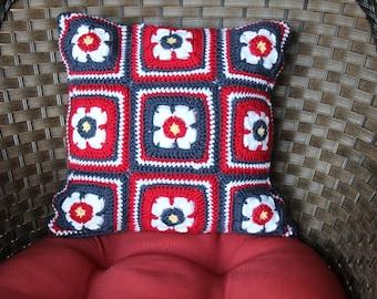 Crochet Pillow Pattern, Floral Crochet Motif Pillow Patterns, Crocheted Pillow Cover, Square Motif Crochet Pattern, Cotton Yarn Pattern
