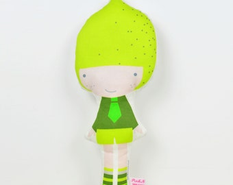Lemon cloth doll in citron yellow and green