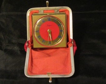Vintage 1960's Coin Purse Travel Clock, Red Patton Faux Leather, Wind Up Alarm Clock, Purse Alarm Clock West Germany