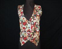 vintage ugly christmas vest. world children christmas carolers. large.