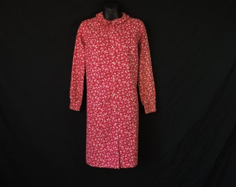 50s house dress berry pink lounge gown floral pearl snap house coat coffee break R medium large