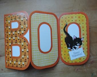 vintage Halloween card 70s kitsch BOO black cat greeting card paper ephemera