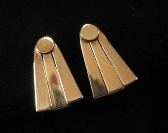 Gold Filled Art Deco Sun Ray Screw Back Earrings