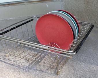 Vintage Chrome Metal Dish Drying Rack Storage Organization Display Mid Century Retro Tray Kitchen