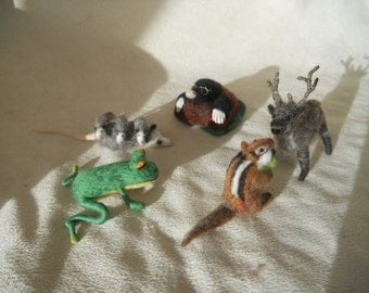 Bag of 2 Large needle felted animals play items play scape play mat waldorf stag opossum frog chipmunk mole