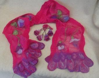 Summer Sale, Nuno felted scarf,  reversible Merino scarf, wool silk scarf, Fuchsia flowers,Fuchsia felt brooch, shocking pink, lavender