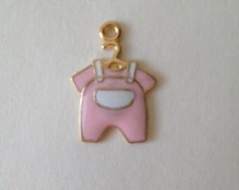It's a Girl pink baby pajamas enamel Charm - Alex & Ani Inspired bracelets- jewelry making - findings - newborn baby shower